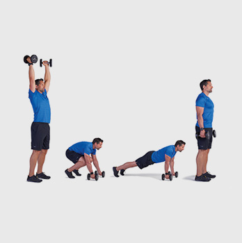 Dumbbell Burpee Curl and Press