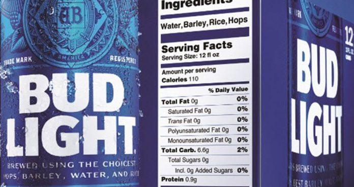 alcohols Nutritional Labels